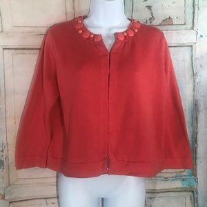 Boden Coral Cropped & Embellished Cardigan Size 10